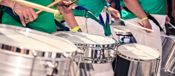 The sounds of Caribbean steel drums can be heard throughout the Notting Hill streets
