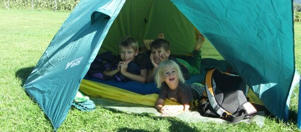 children in tent
