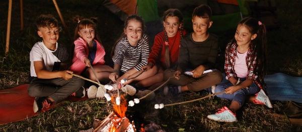 kids campfire campsite