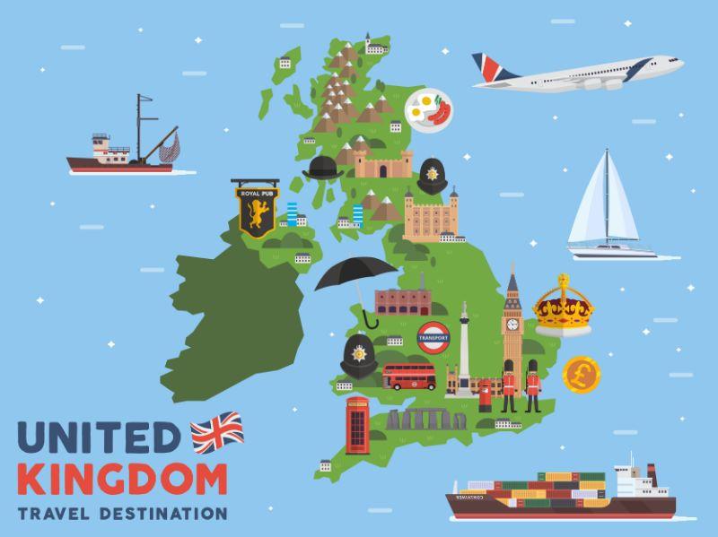 Toeristische kaart Verenigd Koninkrijk