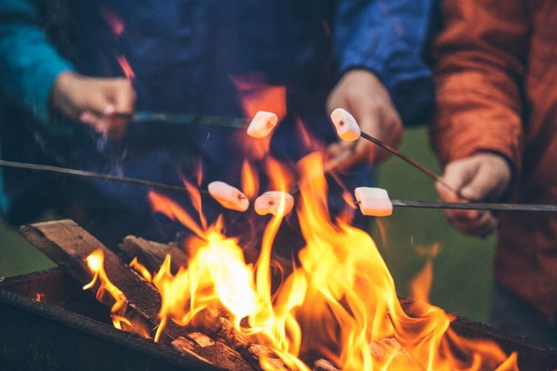 A campfire is also a good source of heat during winter camping. And it's great for toasting marshmallows!