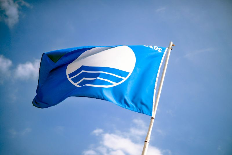 If you see this flag, that means the beach meets the criteria for a Blue Flag certificate