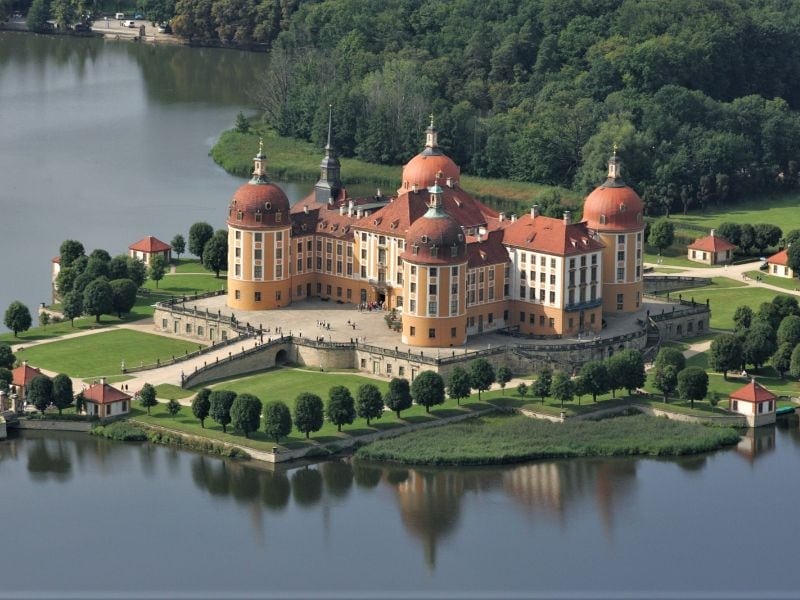 Moritzburg Hunting Lodge lies in the middle of a large lake.