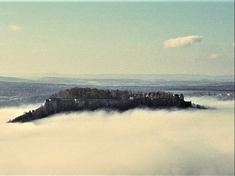 From Königstein Fortress you have a beautiful view over the surroundings of the National Park Sächsische Schweiz.