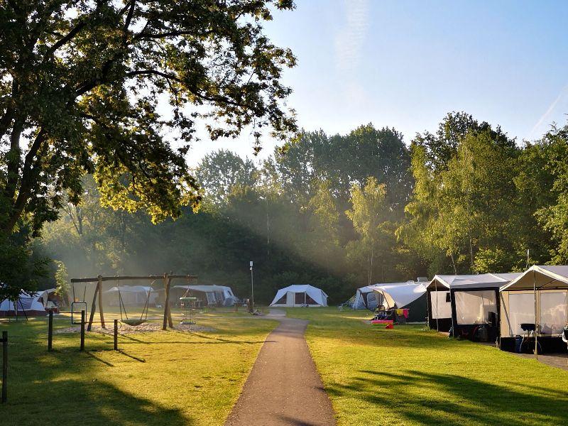 Camping met tenten en geasfalteerd pad